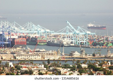 Long Beach, California/United States - 10/16/15: Long Beach Harbor during the day hard at work unloading shipments with cranes