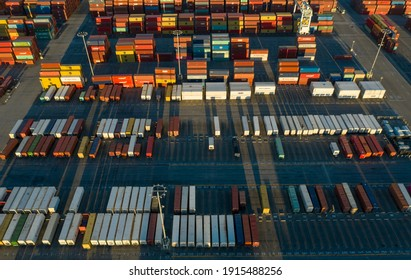 Long beach, CaliforniaUSA - January, 30th 2021: Drone, aerial view of cargo containers ready to be shipped at Long Beach port in California USA