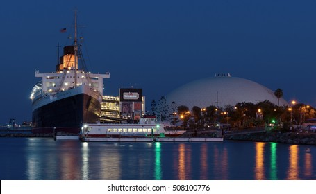 LONG BEACH, CA/USA - JULY 4, 2016: the RMS Queen Mary ocean liner and geodesic dome are landmarks in the City of Long Beach. The iconic ship is currently a floating hotel and a tourist attraction.