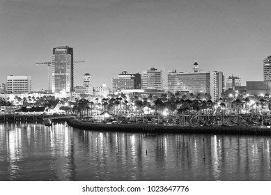 Long Beach city skyline at night, California.