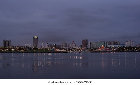 Long Beach cityscape at night