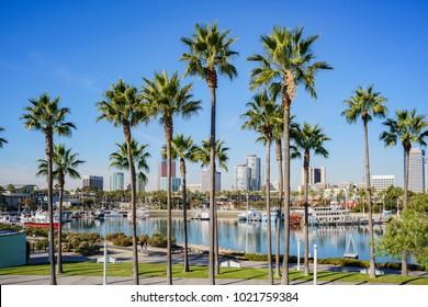 Long Beach, DEC 15: Beautiful scene around Rainbow Harbor on DEC 15,2017 at Long Beach, California, U.S.A.