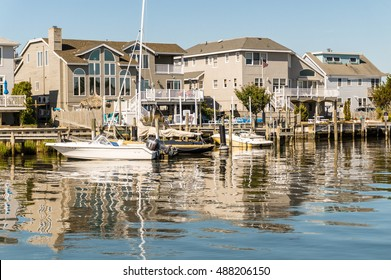 Long Beach Island, NJ. USA - July 24, 2016. Houses on Little Egg Harbor, New Jersey were repaired after Hurricane Sandy in 2012 24, 2016.