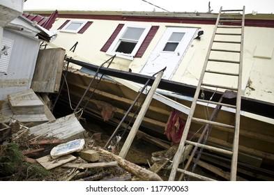 LONG BEACH ISLAND,NJ-NOVEMBER 1: Houses destroyed by the storm surge caused by Hurricane Sandy. Nov 1 2012, Long Beach Island, NJ