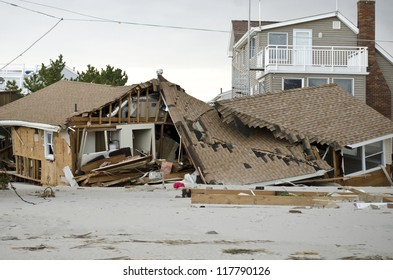 LONG BEACH ISLAND,NJ-NOVEMBER 1: Houses destroyed by the storm surge caused by Hurricane Sandy.Nov 1 2012, Long Beach Island, NJ
