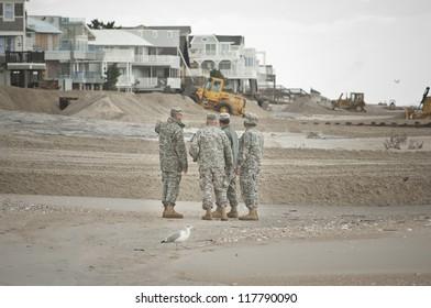 LONG BEACH ISLAND,NJ-NOVEMBER 1: Members of the NJ National Guard beginning their assessment of the damage to Long Beach Island in the wake of Hurricane Sandy.Nov 1 2012, Long Beach Island, NJ