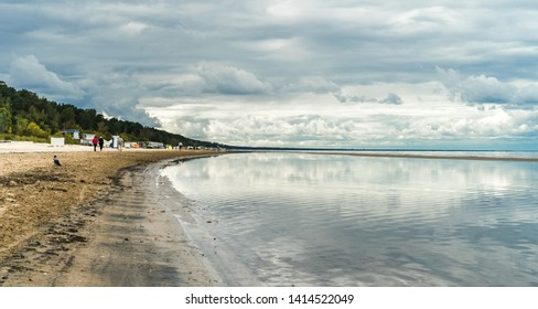 Long beach in Jurmala, west of Riga. Southern shores of Gulf of Riga (Baltic Sea).  A favorite holiday-resort and tourist destination for high-level Communist Party officials. Latvia, European Union.