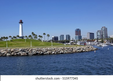 Long Beach lighthouse, Harbour, skyline and Marina in Long Beach with Palm Trees, California at sunrise