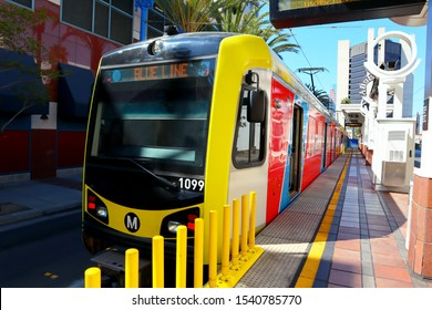 LONG BEACH Los Angeles, California - October 5, 2019: Downtown Long Beach Metro Station with Blue Line Metro Rail Train from Los Angeles to Long Beach