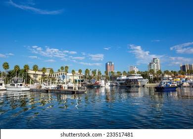 Long Beach Marina and city skyline, Long Beach, California.
