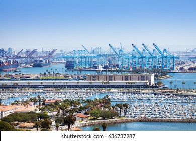 Long Beach marina and shipping port at sunny day