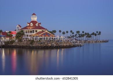 Long Beach, MAY 1: Beautiful skyline and night scene  on MAY 1, 2017 at Rainbow Harbor, Long Beach, California, U.S.A.