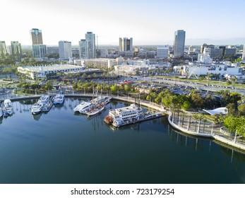 Long Beach, MAY 1: Beautiful aerial afternoon view on MAY 1, 2017 at Rainbow Harbor, Long Beach, California, U.S.A.