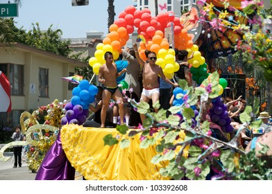 LONG BEACH - MAY 20: Float with dancers during the Long Beach Lesbian and Gay Pride Parade 2012 on May 20, 2012 in Long Beach, California.