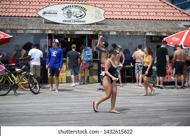LONG BEACH, NY - JUNE 22, 2019: Pride On The Beach is a weekend long celebration taking place annually on Long Beach, Long Island.