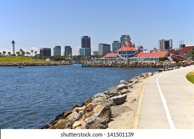 Long beach skyline promenade and marina