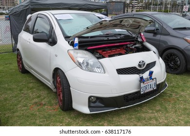 Long Beach, USA - May 6 2017: Toyota Yaris on display during the 22nd annual All Toyotafest.