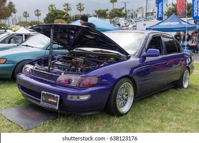 Long Beach, USA - May 6 2017: Toyota Corolla 1994 on display during the 22nd annual All Toyotafest.