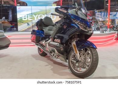 Long Beach, USA - November 17, 2017: Honda Gold Wing on display during Progressive International Motorcycle Show.