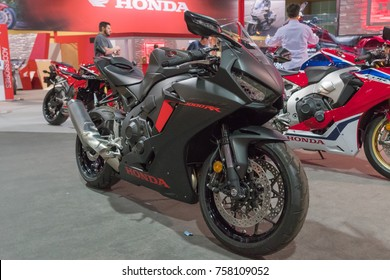 Long Beach, USA - November 17, 2017: Honda CBR 1000 RR on display during Progressive International Motorcycle Show.