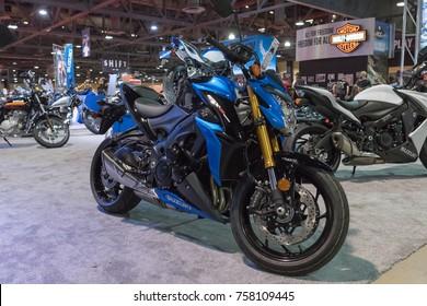 Long Beach, USA - November 17, 2017: Suzuki GSX-S1000 on display during Progressive International Motorcycle Show.