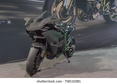 Long Beach, USA - November 17, 2017: Kawasaki Ninja H2 on display during Progressive International Motorcycle Show.
