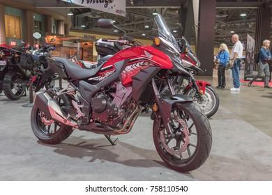 Long Beach, USA - November 17, 2017: Honda CB500X on display during Progressive International Motorcycle Show.