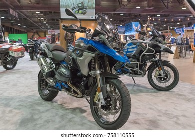 Long Beach, USA - November 17, 2017: BMW stand  on display during Progressive International Motorcycle Show.