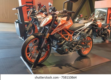 Long Beach, USA - November 17, 2017: KTM 390 Duke  on display during Progressive International Motorcycle Show.