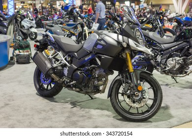 Long Beach, USA - November 20, 2015: Suzuki V-Strom 1000 ABS Adventure on display during Progressive International Motorcycle Show.