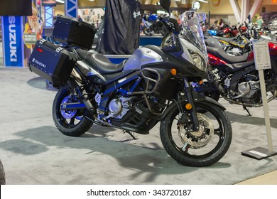 Long Beach, USA - November 20, 2015: Suzuki V-Strom 650 ABS Adventure on display during Progressive International Motorcycle Show.