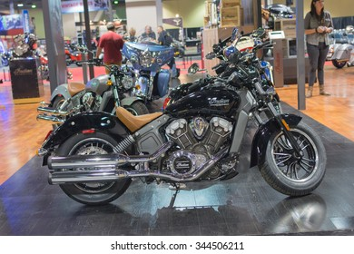 Long Beach, USA - November 20, 2015: Indian Scout on display during Progressive International Motorcycle Show.