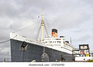 LONG BEACH/CALIFORNIA - APRIL 25, 2015: RMS Queen Mary the ocean liner which sailed on the North Atlantic Ocean from 1936 to 1967 now retired and moored in the Port of Long Beach, California USA