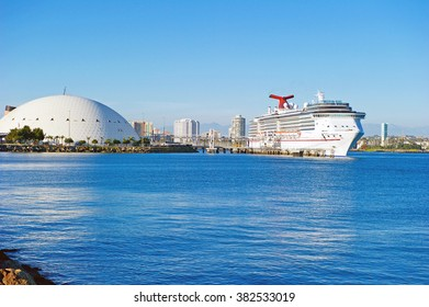 """LONG BEACH/CALIFORNIA - FEB. 20, 2016: Carnival Imagination (formerly """"Imagination"""") a fantasy-class cruise ship operated by Carnival Cruise Lines docked in Long Beach, California USA"""