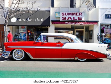 LONG BEACH/CALIFORNIA - SEPT. 11, 2016: Classic Two Toned Chevy Bel Air parked along the street in Belmont Shores in the city of Long Beach, California USA
