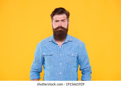 Long beard. Statement denim jacket. Casual style. Denim look. Brutal hipster with mustache. Barbershop. Mature serious hipster with beard. Denim shirt essential garment modern wardrobe. Clothes shop.