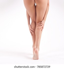 Long beautiful slender female legs. Skin Care and Health Concept