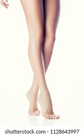 Long beautiful woman legs of balet dancer with clean smooth skin. Perfect fit and diet concept