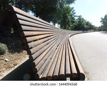 Long bench in El Retiro, Madrid