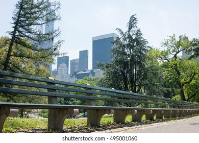 Long Bench in New York City Central Park