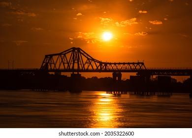 Long Bien bridge in the sunset, Hanoi, Vietnam