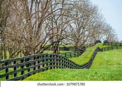 Long black equine fence, chewed by horses, at edge of paddock in Kentucky bluegrass country on a spring afternoon