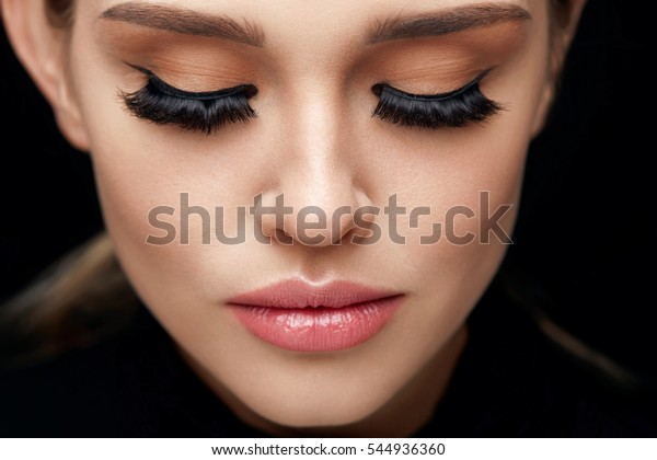 864d81303d9 Long Black Eyelashes. Portrait Of Beautiful Woman Face With Closed Eyes And Thick  Fake Eye