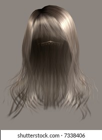 Long blond hair with bangs.