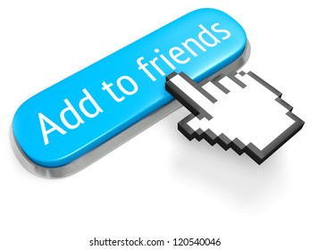 Long blue button Add to friends and hand cursor isolated on white