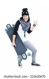 Long board woman style chill