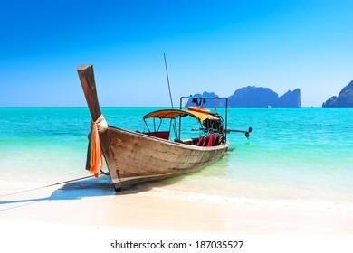 Long boat and tropical beach, Andaman Sea, Thailand