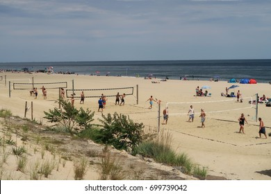 LONG BRANCH, NEW JERSEY - AUGUST 6, 2017: Beach activity on a summer afternoon. Editorial use only.