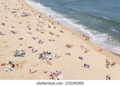 Long Branch, New Jersey / United States - May 3, 2020:  Aerial view of crowded Jersey Shore beaches during the Covid-19 pandemic.