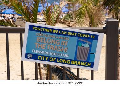 Long Branch, NJ 08-08-2020 Social distancing signs on the boardwalk of Long Branch, NJ.